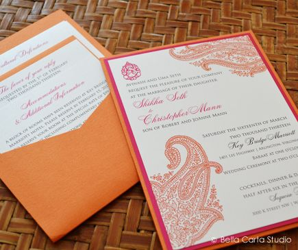 Pink Orange Paisley Indian Wedding Invitation By Bella