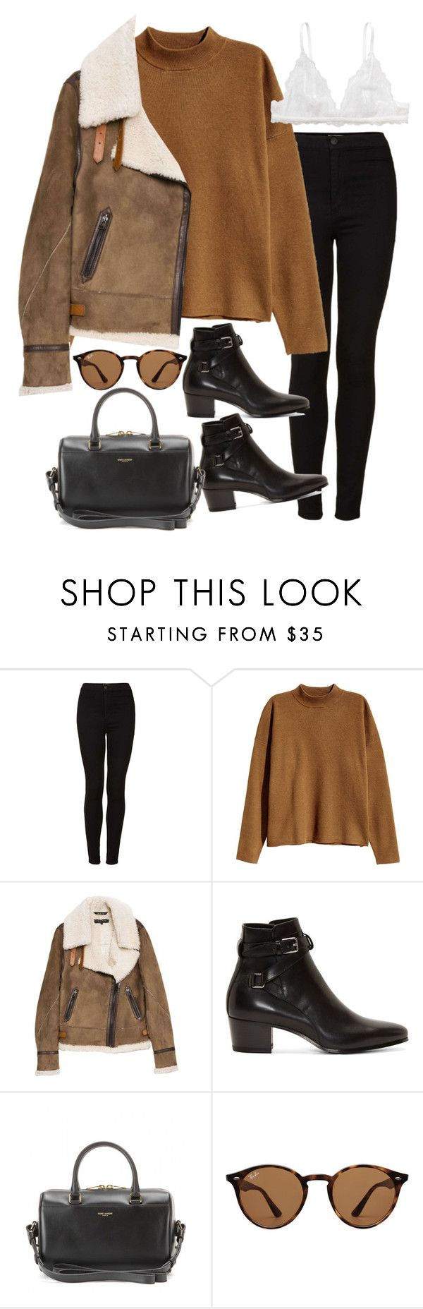 """""""Sin título #2121"""" by alx97 ❤ liked on Polyvore featuring Topshop, H&M, rag & bone, Yves Saint Laurent, Ray-Ban and Monki"""
