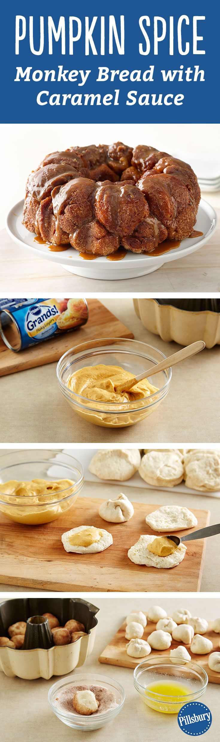 ... filled with creamy pumpkin, cream cheese, and decadent caramel sauce