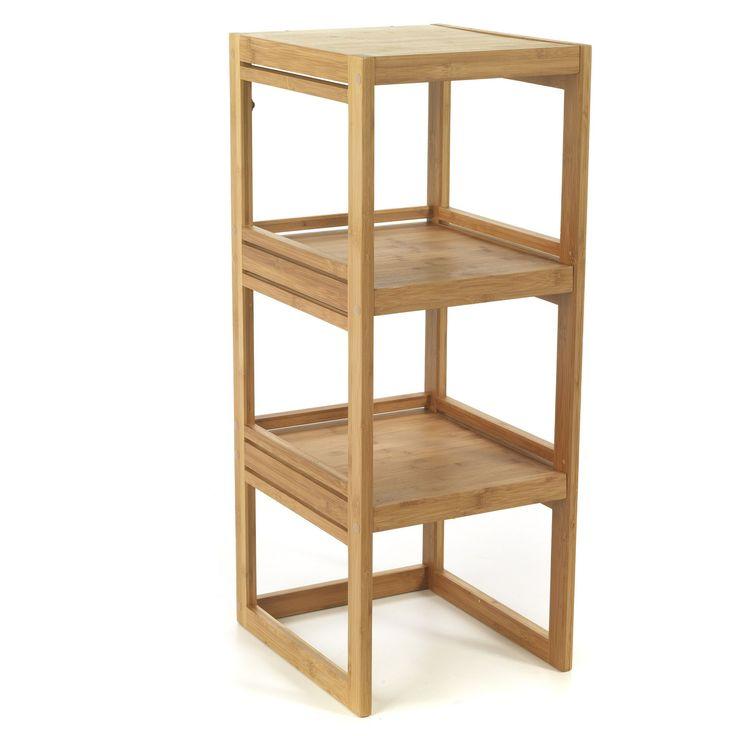 Tag re basse en bambou danong les tag res et armoirettes de salle de bains les meubles de for Echelle bambou salle de bain alinea