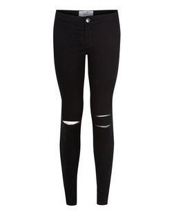 Jean super skinny ado noir taille haute avec déchirures aux genoux | New Look