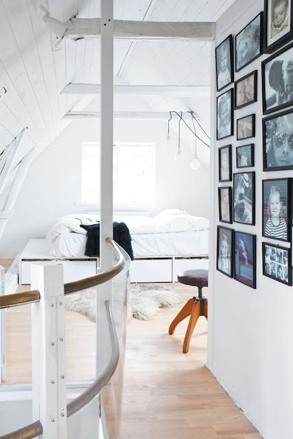 I want one of these stools so bad why does N.Z have such crappy furniture!    the boo and the boy: family home outside Copenhagen: Interior Design, Decor, Spaces, Idea, Attic Bedrooms, Dream, Photo Wall, House