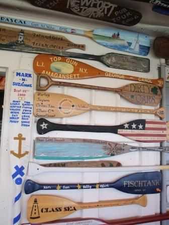 Collection of oars on the wall @ the Oar restaurant on Block Island ~ Lynn & Mike ..around the world