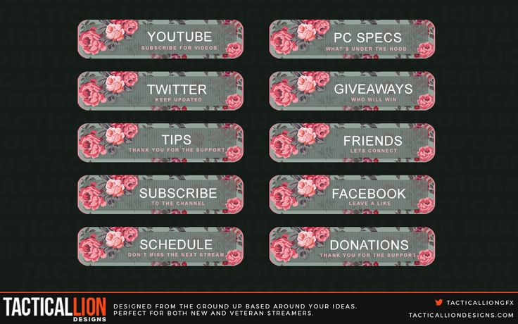 Twitch Panels beautifully created for twitch streamers