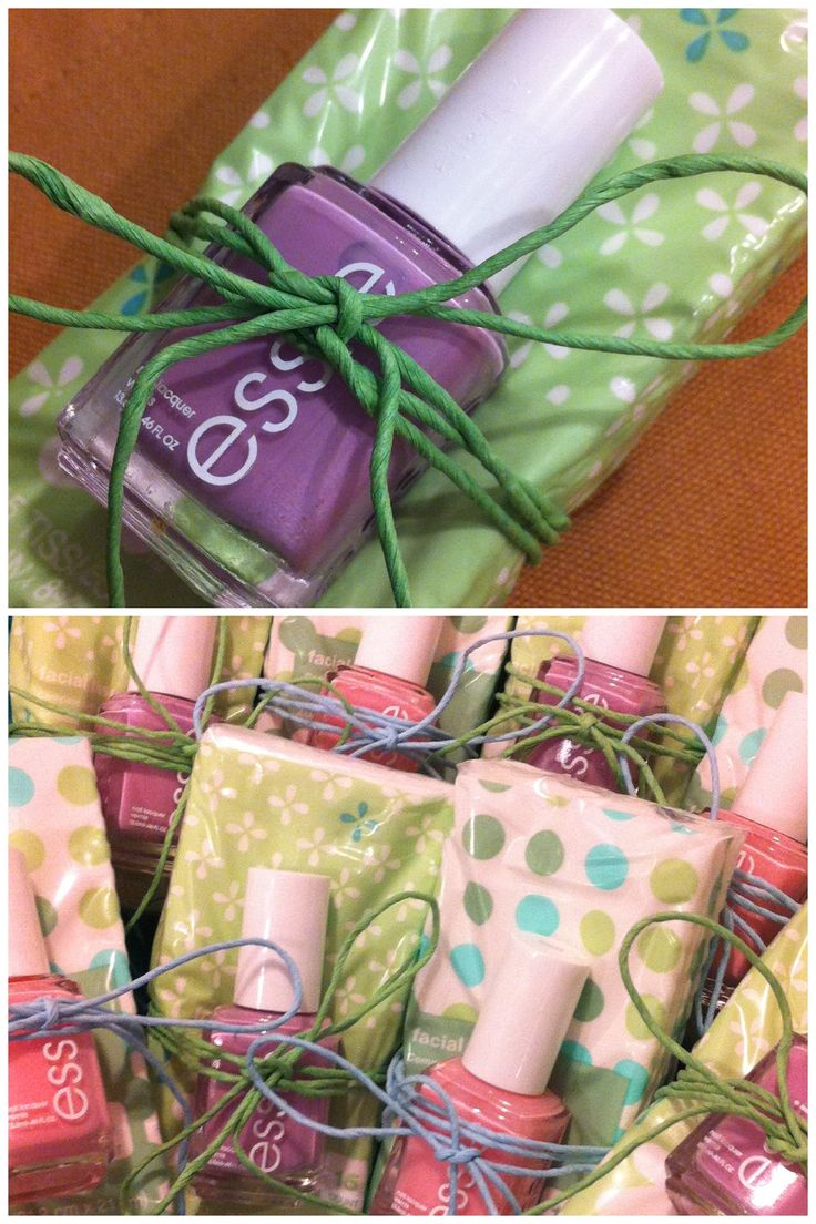 Mother's Day Brunch party favors for all the mammas. Pastel bottle of Essie nail polish, package of purse tissues wrapped in colored twine.