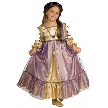 A classic Girls Princess Juliet Costume with long satin gown and traditional renaissance look!