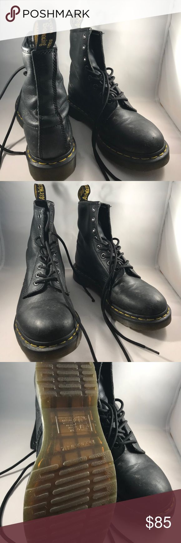 Dr. Martens 1460 Smooth Black Like new 1460 (the original 8 eye) Dr. Martens. Comfortable Air cushioned sole, and steel toe. All small scuffs are visible in the pictures. Only worn a handful of times. The size is 6 1/2! Dr. Martens Shoes Lace Up Boots