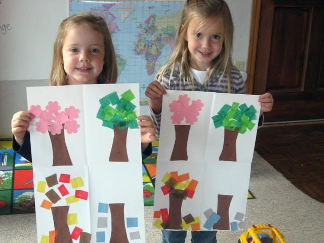 Craft. Homeschool. How leaves change with the four seasons.