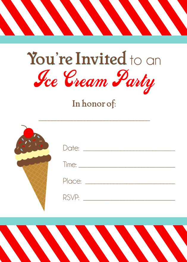 Ice Cream Party Free Printable Invitation   printables ...