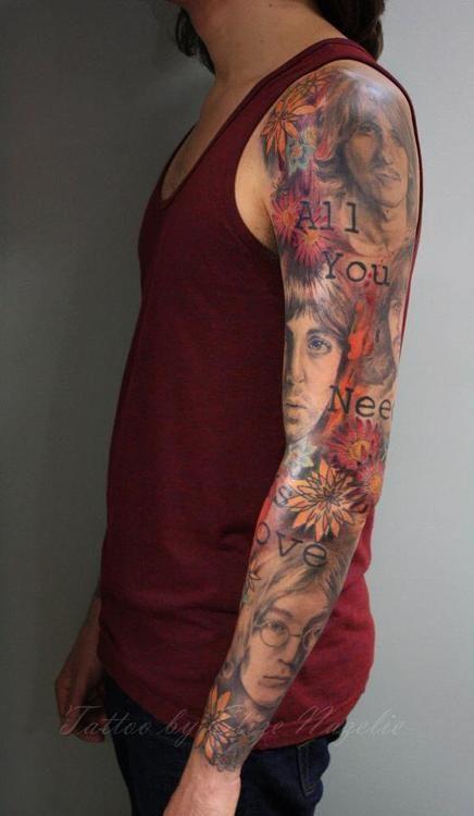 The Beatles sleeve tattoo