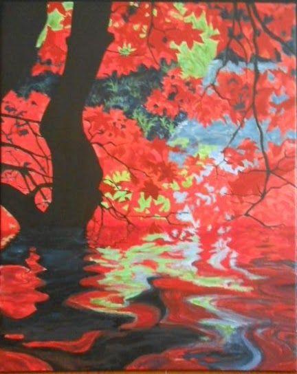 Fa és víz, akrilfestmény, 40x50 cm vászon