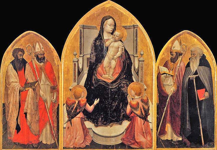 The first works attributed to Masaccio are the San Giovenale Triptych (1422), shows the Madonna and Child in the central panel, with Saints Bartholomew and Blaise on the left, and Gaints Giovenale and Anthony Abbot on the right, each with his individual symbol. At the Virgin's feet are two angels turned inward toward her, the one on the left gesturing with open arms, the one on the right praying. The throne appears to be of wood, befitting Masaccio's family background as cabinetmakers.
