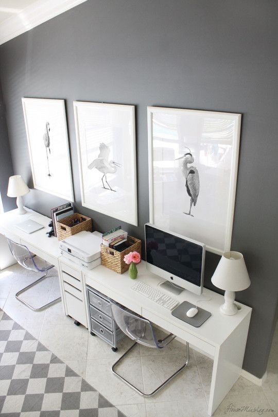 Gray and white Ikea home office for two - chairs