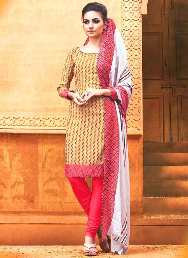 Shop online for latest salwar kameez online, indian salwar kameez. Buy this rayon print work churidar suit.