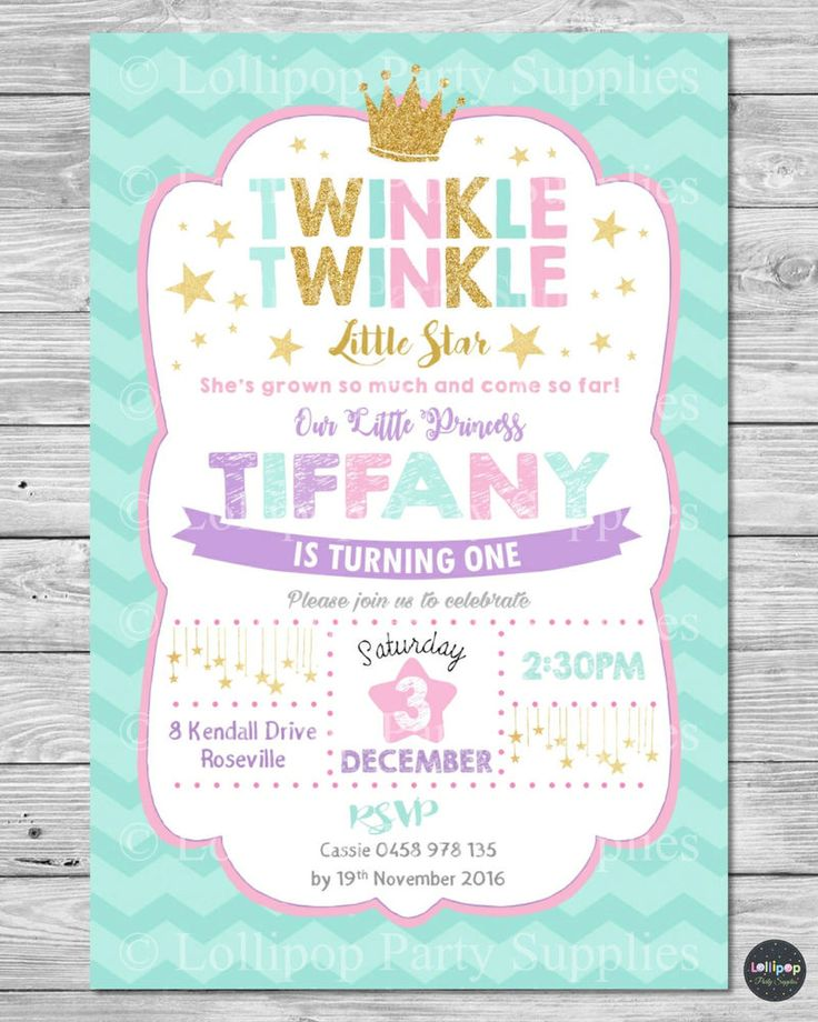 TWINKLE LITTLE STARS INVITATION PRINCESS INVITE 1ST FIRST BIRTHDAY CARD GIRL  #CUSTOMINVITATION #Birthday