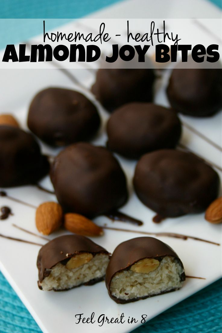 These homemade Almond Joy Bites are refined sugar-free and made with healthy real-food ingredients! Nothing beats the combo of coconut, almonds and chocolate!   Feel Great in 8 - Healthy Real Food Recipes