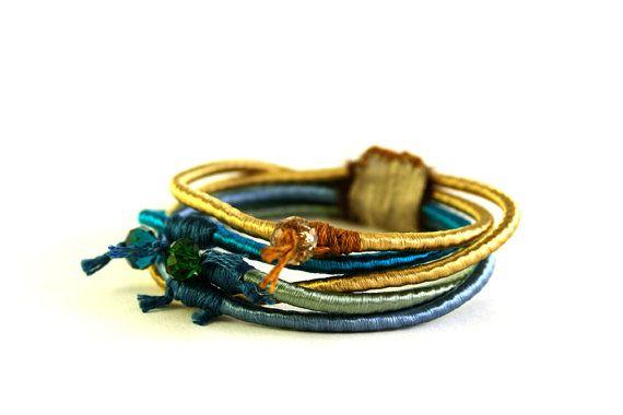 Gold stack boho hippie bracelet bangle/Blue & gold stacking bracelets/Handmade bracelet/Bracelet cuff/Bangle bracelet/Boho jewelry  ► BEFORE PURCHASING