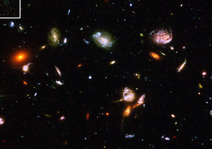 eder lichtpuntje, ieder vlekje, ieder frutseltje op deze ene foto, is een compleet sterrenstelsel. Die stuk voor stuk miljarden sterren hebben, die allemaal hun eigen planeten hebben. (Hubble)