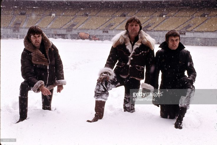 English progressive rock group Emerson Lake and Palmer during rehearsals for the band's 'Works' tour, at the Olympic Stadium, Montreal, Canada, February 1977. Left to right: keyboard player Keith Emerson, guitarist Greg Lake and drummer Carl Palmer.