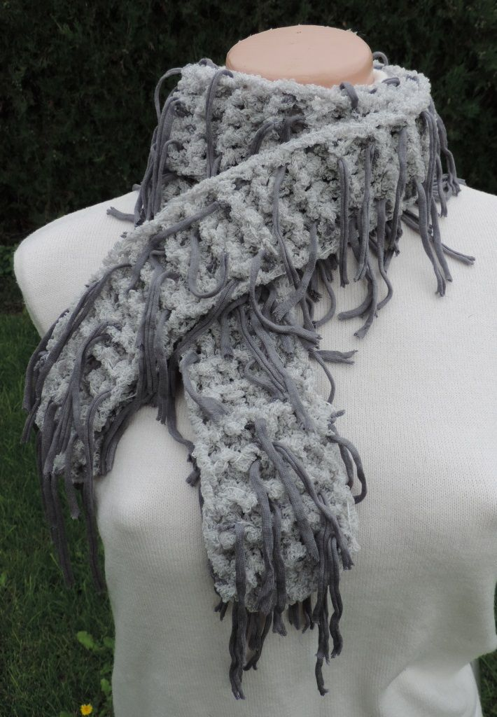 """Very interesting unusual scarf, soft to the touch and well worn. Fancy yarn with tassels which creates a unique look :-) Measurement: Scarflette length is ~ 50"""" (~ 130 cm.) Composition: - 32% Modal, 27% Virgin Wool, 27% Acrylic and 14% Polyamide - brown mottled color - unisex. Handmade with ♥ $10.42 USD"""