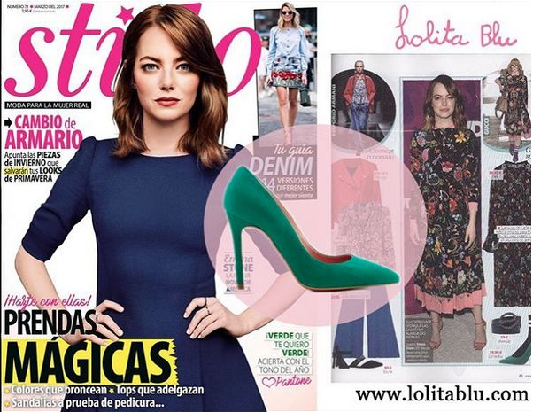La revista Stilo recomienda nuestro stiletto verde modelo Olivia disponible en 25 colores ¿ Cual es el tuyo ? También en piel, charol y con menos tacón
