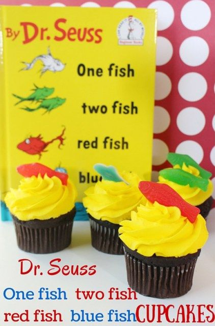 One Fish Two Fish Dr. Seuss Cupcakes -Perfect Recipe idea for a Dr. Seuss party on March 2nd for Dr. Seuss day.