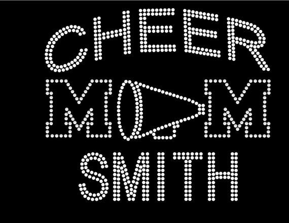 Custom Sports Mom Rhinestone Iron transfer hotfix decal for tee shirt with optional custom number or custom name, cheer mom bling shirt on Etsy, $14.95