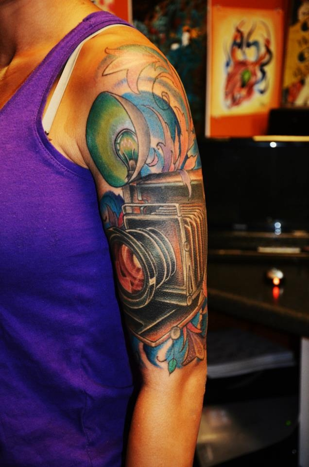 My 1940s vintage style camera half sleeve tattoo by dave for South florida tattoo