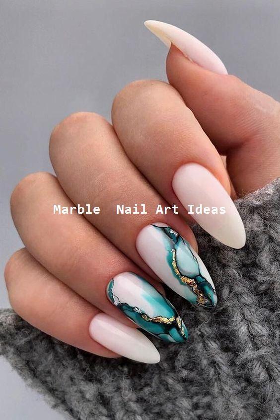 25 Marble Nail Design with Water & Nail Polish #nailartideas #naildesigns   – Acrylnägel
