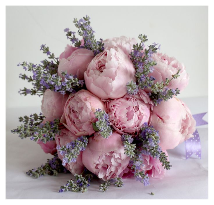Pink peonies and lavander bridal bouquet.