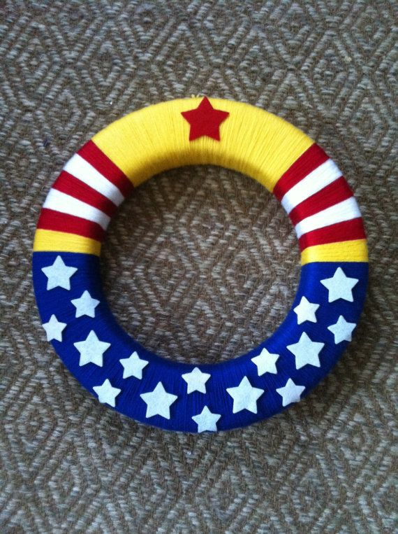 WONDER WOMAN Superhero Wreath indoor outdoor by BluebirdAndFox