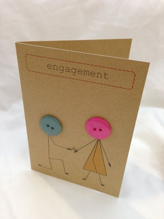 Engagement card made with buttons and brown Kraft by buttonbaps, £3.00