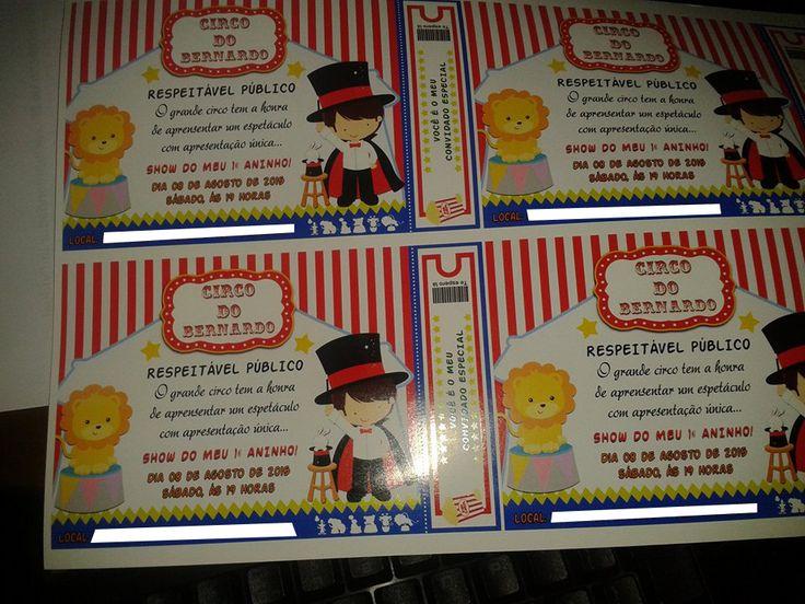 Convite Circo Bernardo - Arte Erika Fazemos todo tipo de arte Não esqueça de curtir nossa página www.facebook.com/AgodoiEventos/