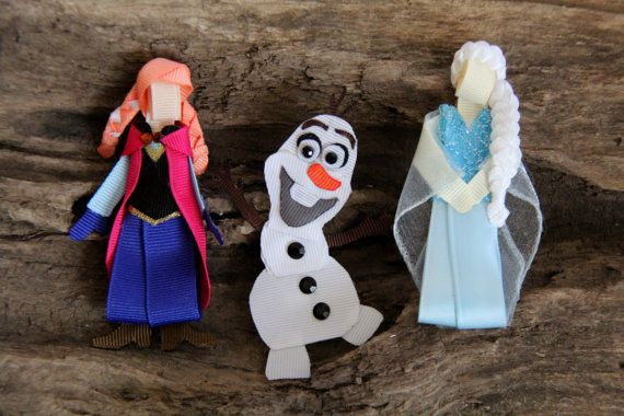 Inspired by the characters from Frozen. Princess Anna, Snow Queen Elsa, and snowman Olaf, Hair Clip, Bow, Pin or ornament on Etsy, $8.00