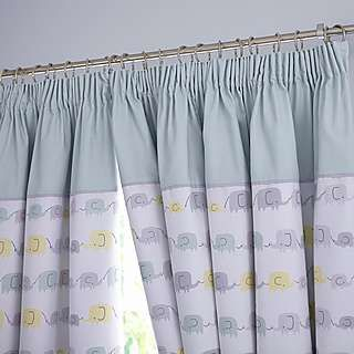 Ellie and Friends Nursery Blackout Pencil Pleat Curtains | Dunelm