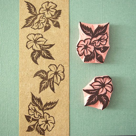 Tropical flowers hand carved stamps floral decor by CassaStamps