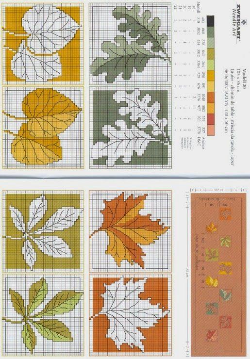 Χειροτεχνήματα: Φύλλα για κέντημα / Cross stitch leaves
