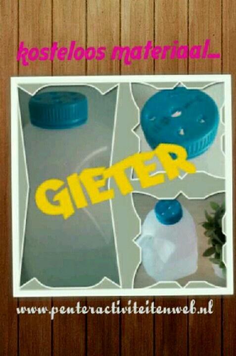 Spelen en knutselen met kosteloos materiaal. Maak van een melkpak een gieter. Lees de werkbeschrijving op onze speel-en knutselpagina www.peuteractiviteitenweb.nl