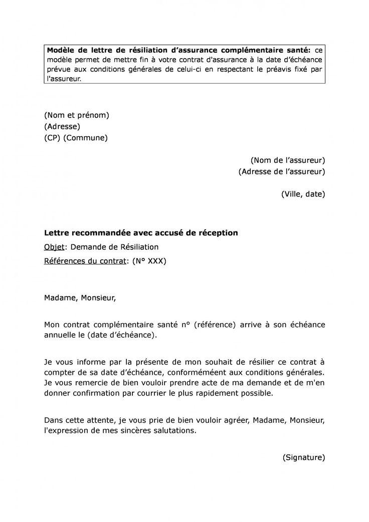 modele lettre resiliation assurance loi chatel