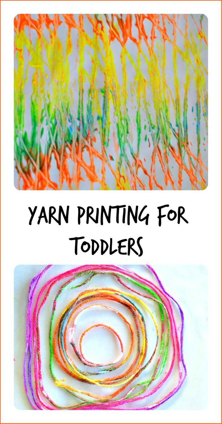 Making yarn prints -- fun process art for toddlers.