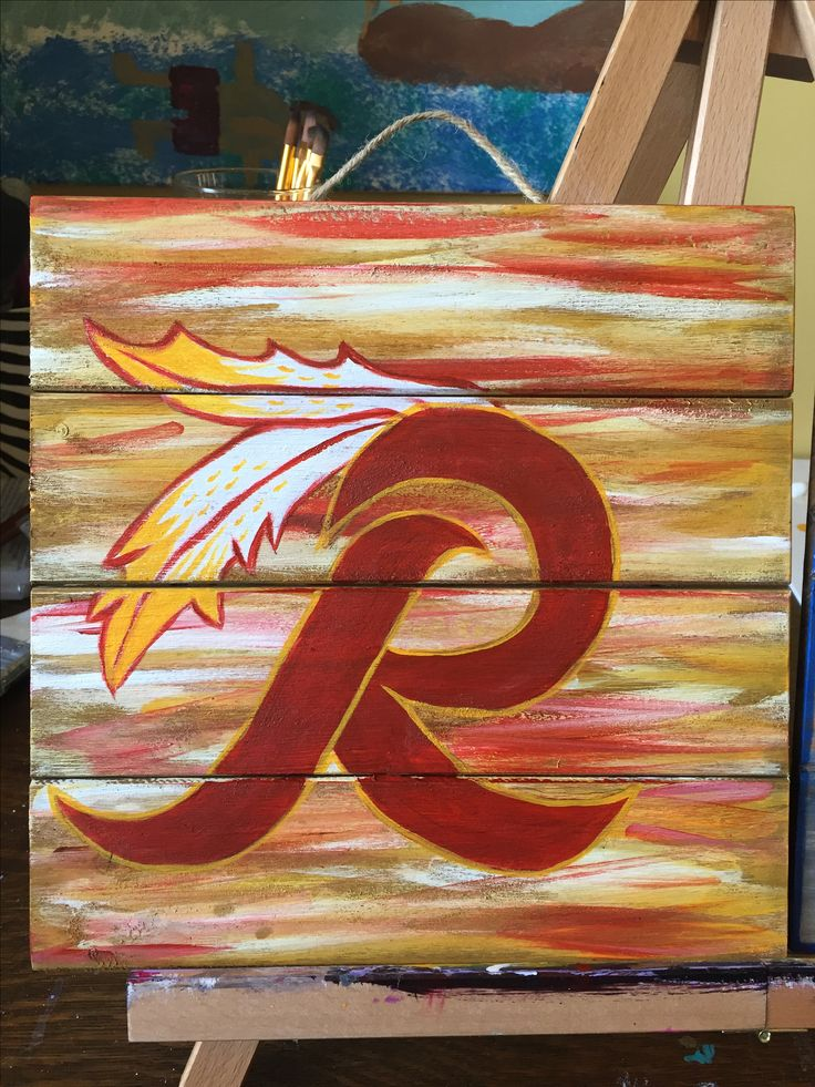 Hand painted Redskins Logo on small wood Pallet! Available for purchase on Etsy  https://www.etsy.com/shop/CapArtAndDesign?ref=hdr_shop_menu