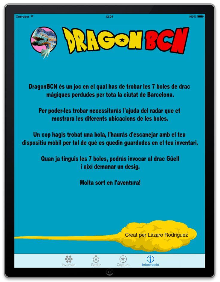 Aplicación para móvil llamada Dragon BCN, en la que se utiliza el dragon modernista del parc Güell para representar el logo