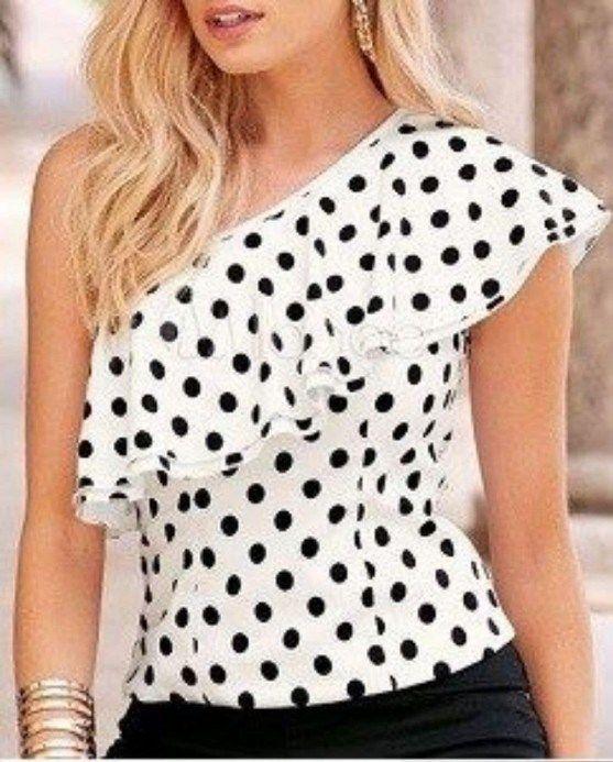 96cbbd88f37 Блузка с воланом на одно плечо. Выкройка на все размеры (Шитье и крой) —  Журнал Вдохновение Рукодельницы