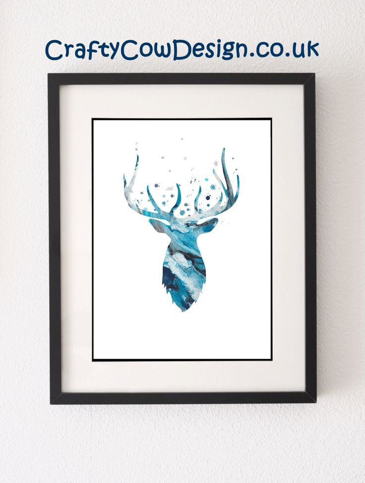 Deer Print, Stag Print, Stag Antlers, Stag Art Pictures, Deer Head Art, Deer Antler, Blue Abstract Art, Gewei Kunst, Stag Head Wall Mount by CraftyCowDesign on Etsy https://www.etsy.com/uk/listing/237973766/deer-print-stag-print-stag-antlers-stag