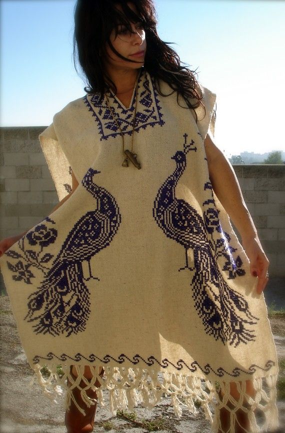 Beautiful Vintage Hand Embroidered Peacocks Mexican Poncho 1960s 1970s