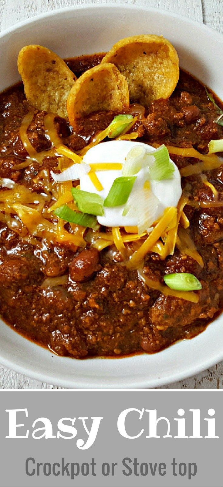 Easy Crockpot Chili Recipe for Two - This crockpot Chili for two is super easy and flavorful with a secret ingredient of A1 steak sauce. It's that time of year when we love to fill our bellies with a hearty helping of delicious chili. This is our favorite slow cooker chili but it can also be made on the stove top in just 15 minutes.