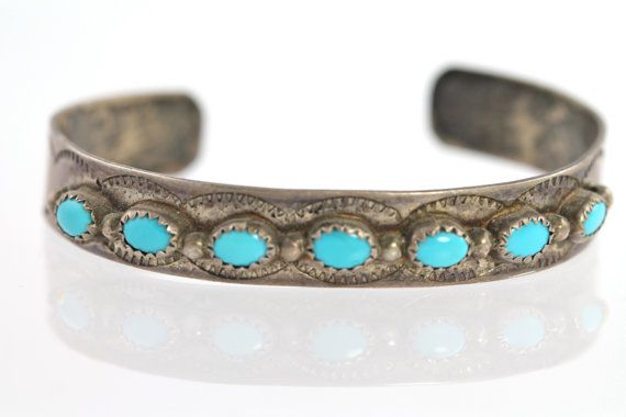 Vintage Navajo Style Sterling Silver & Turquoise Stacking Cuff  Row Bracelet Southwestern
