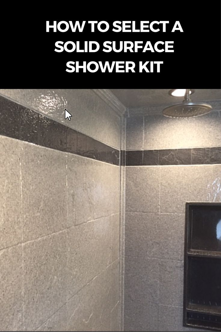 Waterproof wall panels, stone shower pans, and fun accessories are the key elements in choosing a solid surface shower kit.