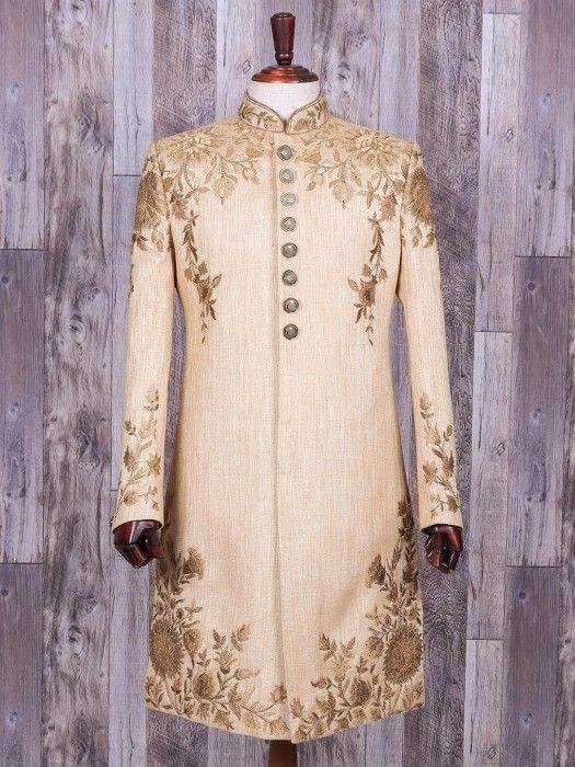 Beige Designer Silk Indo Western, mens indo western