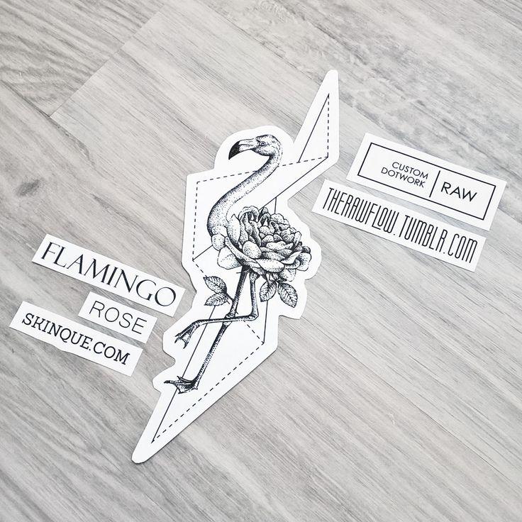 Dotwork rose flamingo tattoo design